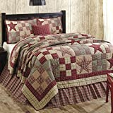Primitive Country, Star Patch Red King 5 Piece Quilt Set by VHC Brands