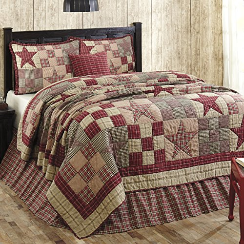 Primitive Country, Star Patch Red King 5 Piece Quilt Set by VHC Brands by The BitLoom Co.