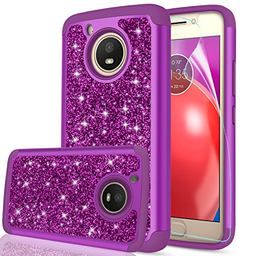 Moto E4 Case (USA Version) (Not Fit Moto E4 Plus) with HD Screen Protector,LeYi Glitter Bling Girls Women Heavy Duty Shockproof Protective Phone Case for Motorola Moto E (4th Generation) FZ Purple (Motorola Phone For Cases Girls)