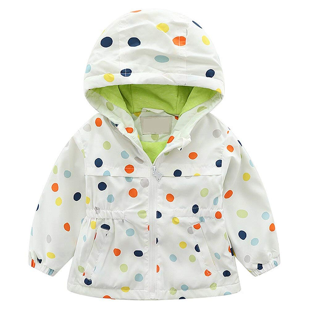 Kids Baby Girls Drawstring Windproof Hooded Coats Lightweight Active Outdoor Jackets Cute Windbreaker Jacket Cotton Liner
