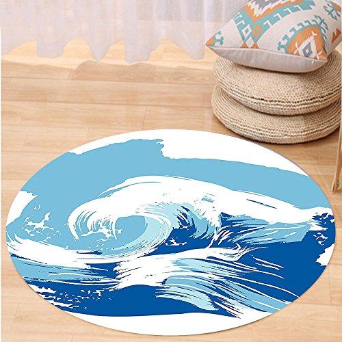 VROSELV Custom carpetOcean Sealife Beach Themed Surfing Miami Waves Sea Marine Life Image Art Print for Bedroom Living Room Dorm Blue Light Blue White Round 24 inches (Rattan Furniture Miami Repair)