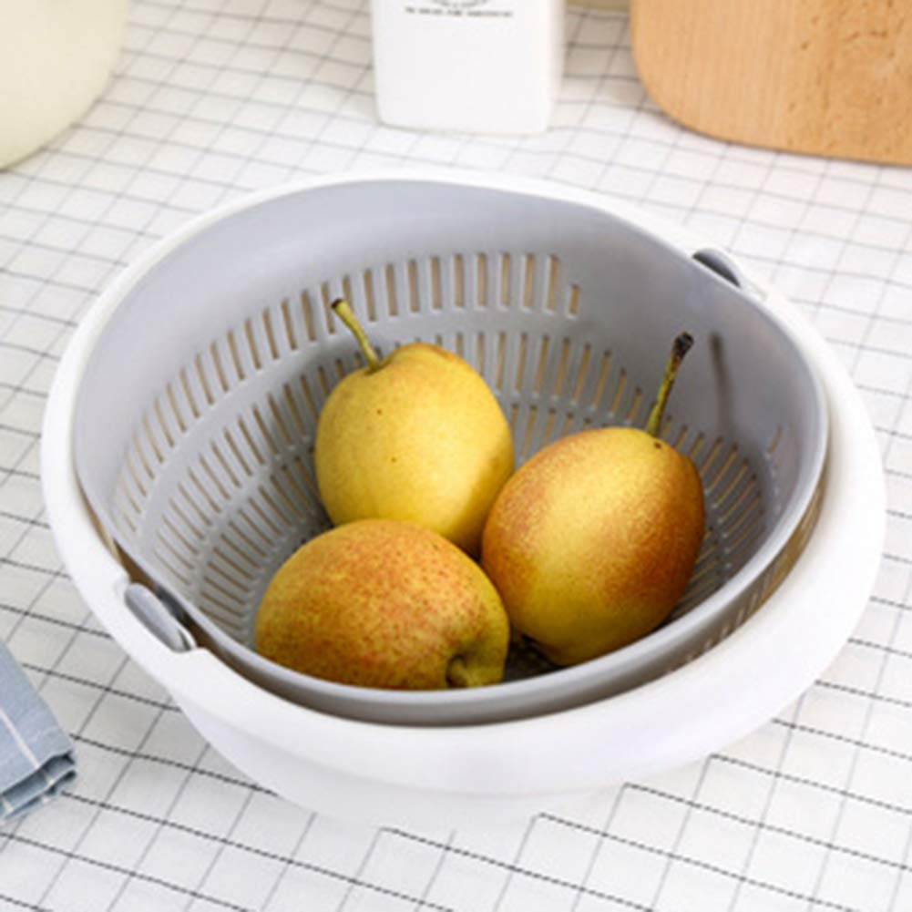 PoeHXtyy Passoire 2-en-1 passoire cuisine passoire double couche panier de bassin de drainage rotatif pour le nettoyage de fruits fruits