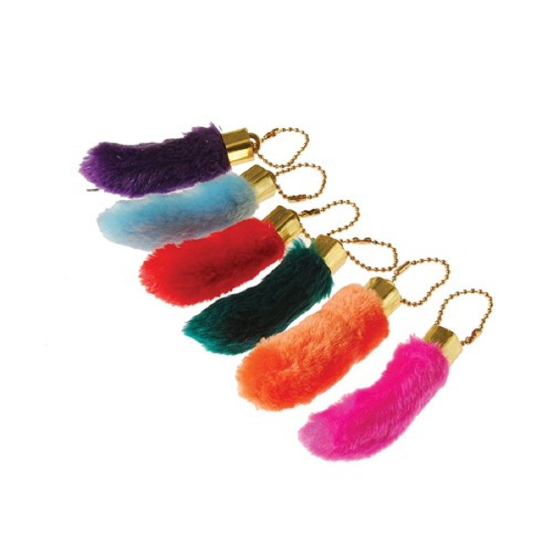 Assorted Color Faux Fake Lucky Rabbit's Foot Key Chains Key Rings US Toy KC386