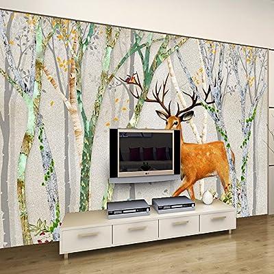 XLi-You 3D retro Nordic creative elk forest bedroom living room sofa tv background wall paper large mural wallpaper