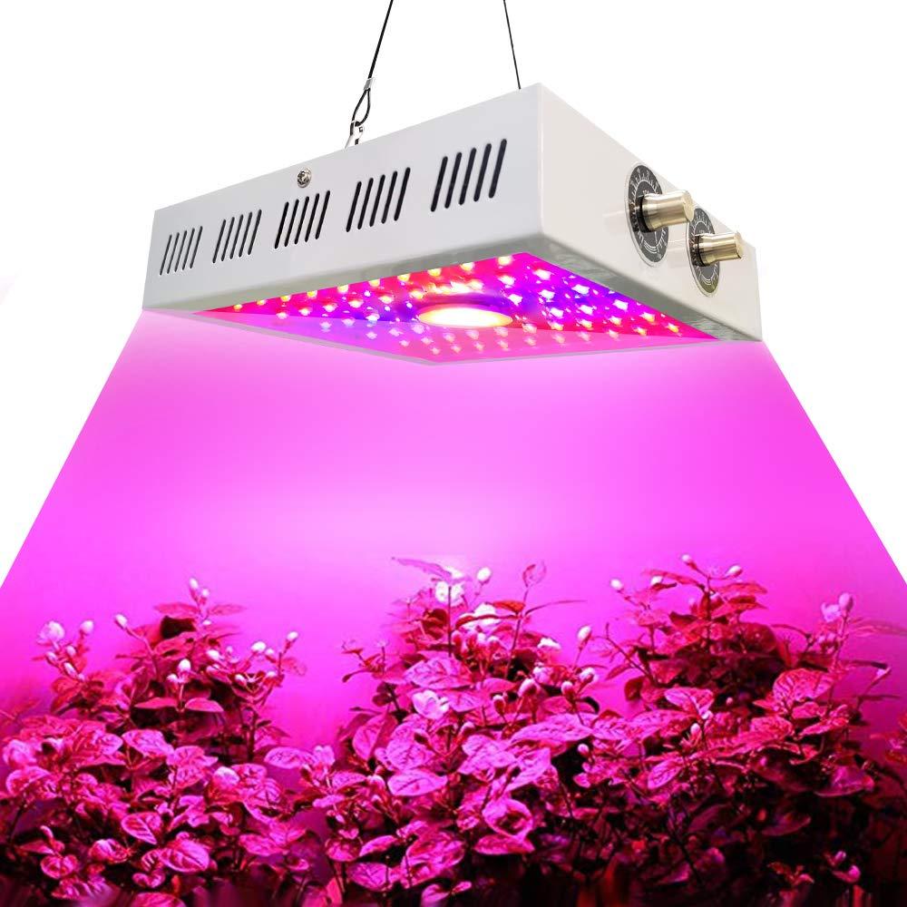 Dini Agel 1100W COB LED Plant Light, Full Spectrum, UV and IR Adjustable, Full Spectrum Plant Light, Flower Plants and Flowers for Basement Planting. 10W LED 46Pcs 1Pcs COB 1100W White Square