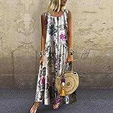Plus Size Maxi Dresses Women Bohemian O-Neck Floral Print Vintage Sleeveless