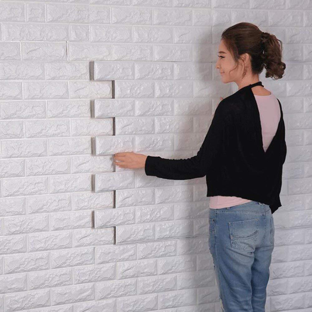 3D Brick Pattern Wall Stickers, DIY Detachable Brick Wallpaper, Soundproofing Wallpaper for Living Room,Bedroom,Bar,TV Wall, 60*60CM (20) Kangxinsheng