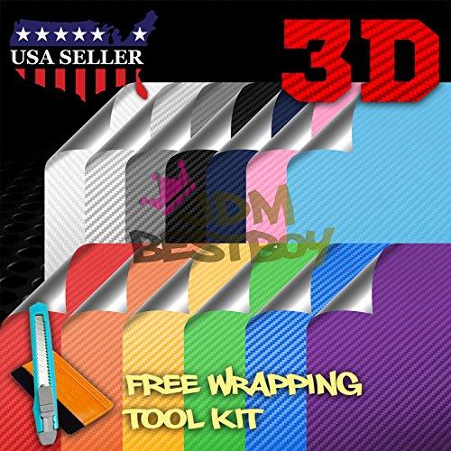 (Free Tool Kit Satin Chrome Blue 3D Carbon Fiber Textured Matte Car Vinyl Wrap Sticker Decal Film Sheet - 12