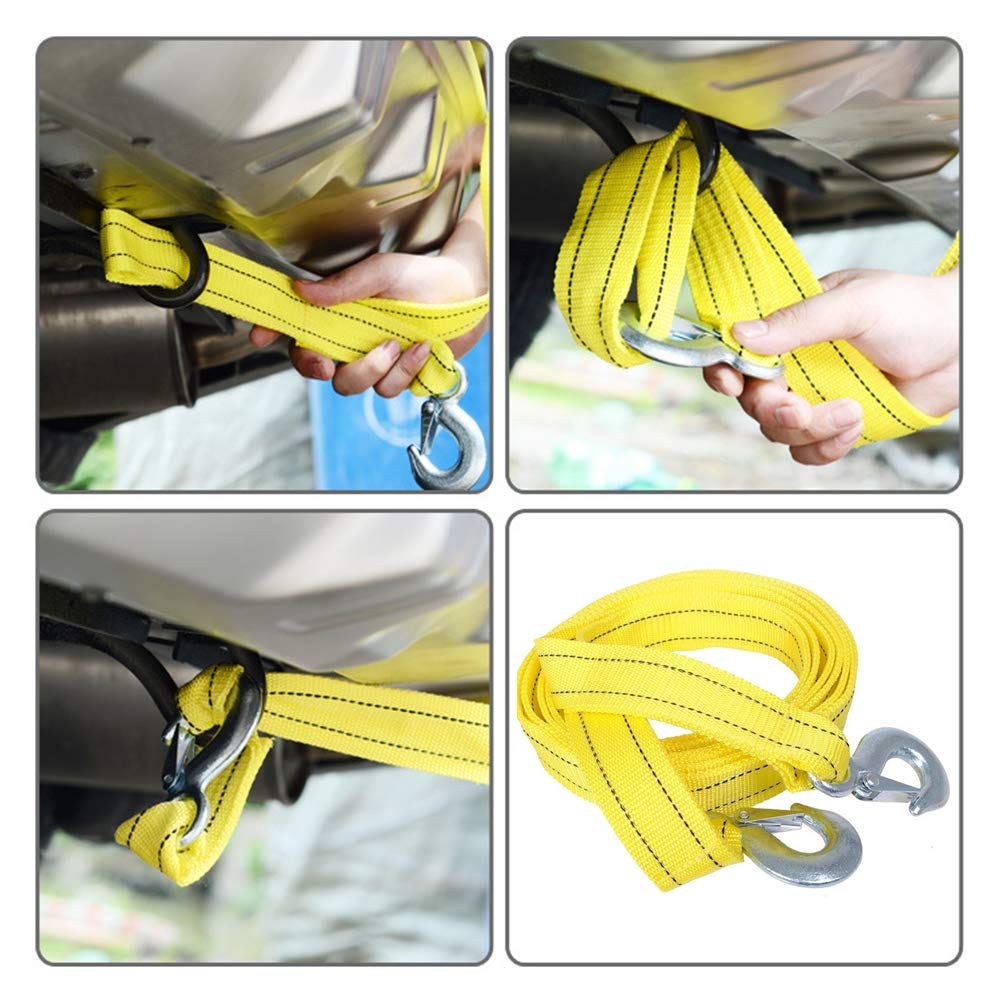 xnbnsj Universal 5 Tons Car Tow Cable Towing Strap Rope with Hooks