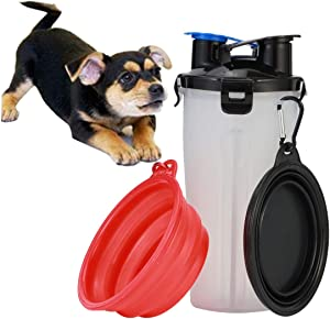 LQX Dog Water Bottle Dog Bowls Collapsible for Traveling Pet Food Container 2-in-1 with Dog Bowls Portable Drinking Bottle Outdoor for Walking Hiking