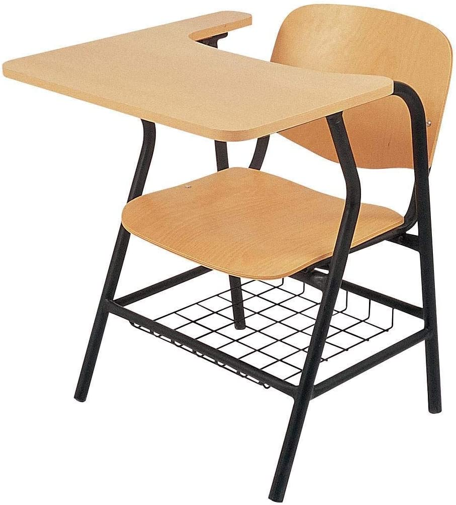 STUDY CHAIR WOODEN IN METAL FRAME WITH WRITING TABLE price in UAE