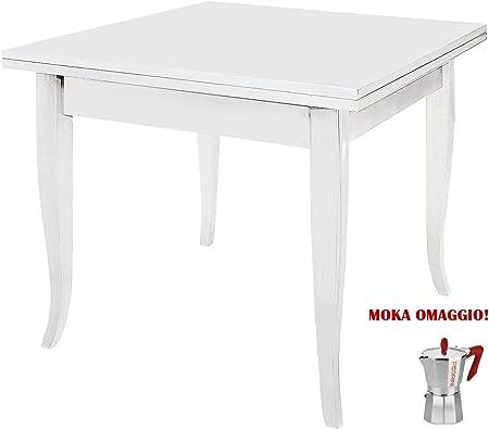 Tavolo Bianco 80x80 Allungabile.Classico Tavolo Da Pranzo Shabby Chic Bianco Quadrato Allungabile