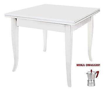 CLASSICO tavolo da pranzo Shabby Chic bianco quadrato allungabile ...
