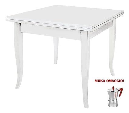 Tavolo Quadrato Bianco Allungabile.Classico Tavolo Da Pranzo Shabby Chic Bianco Quadrato Allungabile A