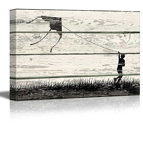 Wall26 - Boy Flying a Kite in Silhouett Artworke- Rustic Canvas Wall Art Home Decor - 12x18 inches (Children Flying Kites)