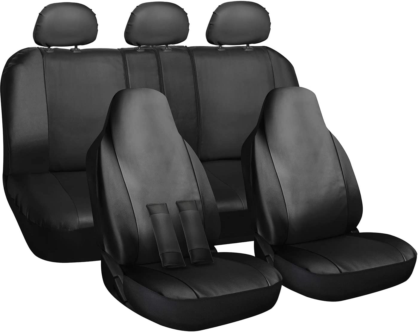 OxGord Faux Leather Solid Black Auto Seat Covers Set - Airbag - Universal Fit for Car, Truck, or SUV - Seat Belt Pads