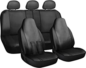 OxGord Car Seat Cover - PU Leather Solid Black with Front Low Bucket and 50-50 or 60-40 Rear Split Bench - Universal Fit for Cars, Trucks, SUVs, Vans - 10 pc Complete Full Set