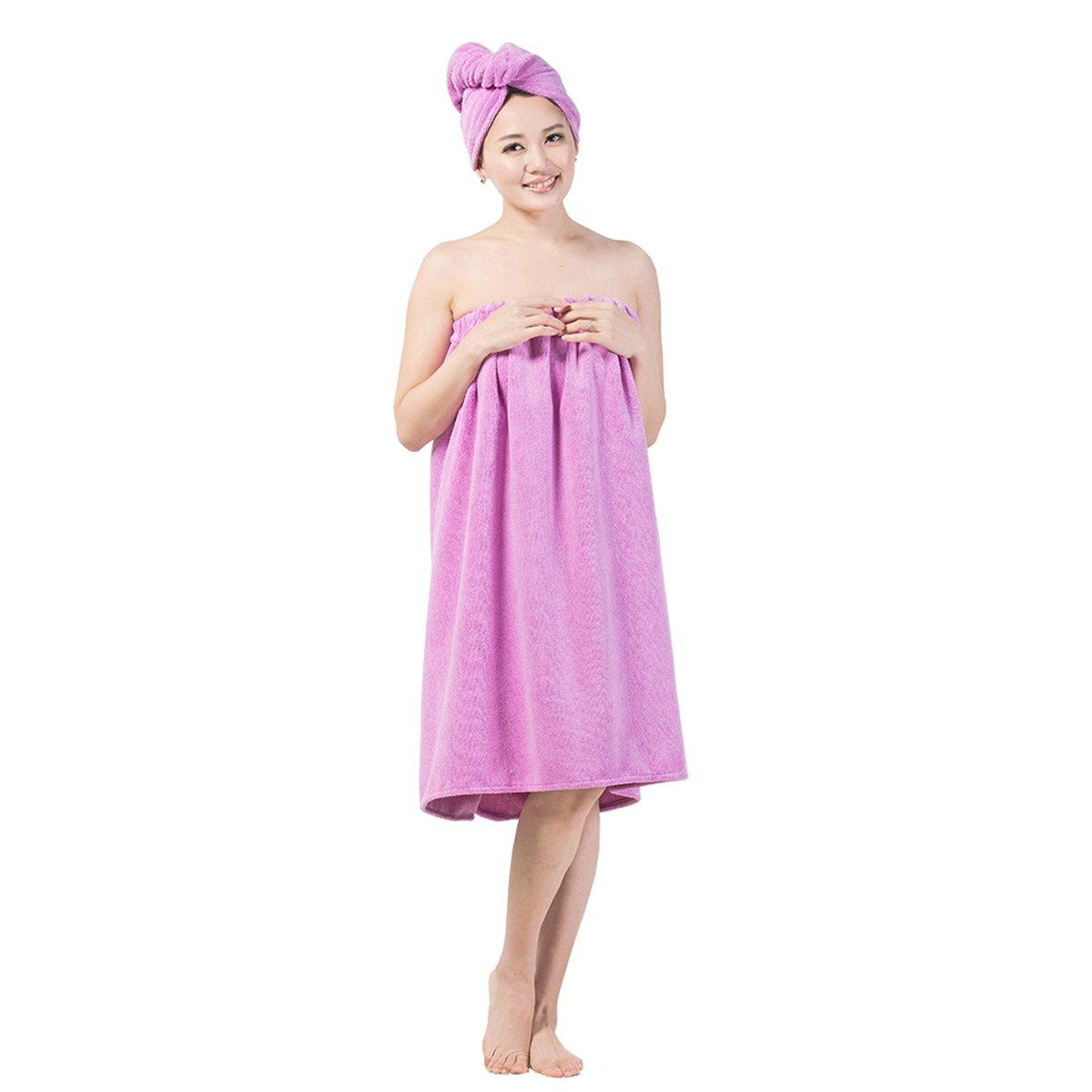 DayCount® Spa Bath Wrap Cover up Towels Set, Beach Body Wrap Washcloth Bath Skirt, Bath Spa Towel with Shower Hair Drying Turban Cap Hat for Women Girls and Men (Purple, XL: 59'' x 35.43'') DC2242