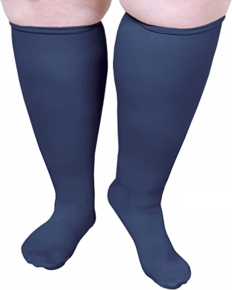 Navy//Grey 2 Pair Moderate Compression Knee High Trouser Socks Wide Calf