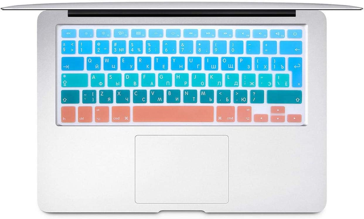 Film Pour Clavier Russian EU//UK Silicone Keyboard Protector Cover Skin Protective Film for Mac Book Air13 Pro15 A1466A1502 Colorful Keyboard Film-B