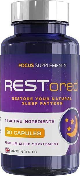 RESTored Combinación Herbal de 5-HTP, L-Triptófano, Magnesio Glicinato, L-Teanina, Minerales y Vitaminas Esenciales - Suplemento para Ayudar a Dormir ...