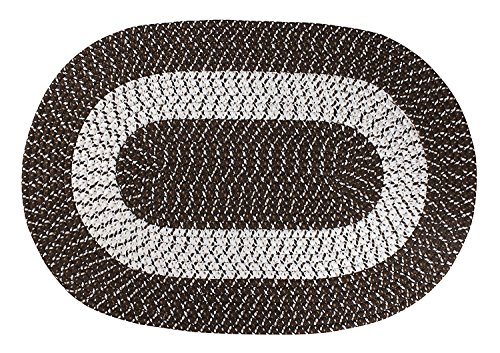 Braided Rug, Traditional Rustic Reversible Oval Braided Accent Rug 20''WX30''L, Washable Braided Indoor Outdoor Area Rug Floor Carpet for High Traffic Areas (Coffee)