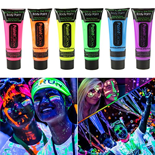 GARYOB Glow in Dark Face Body Paint UV Blacklight Neon Fluorescent-0.35oz Set of 6 Tubes
