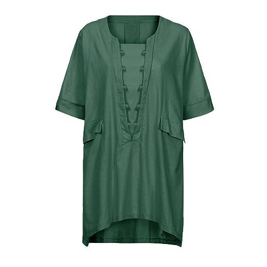 01c360c2d59 Orient Embroidery Dress Shirts for Women, Plus Size Solid T Shirt Pocket  Blouse Irregular Shirtdress