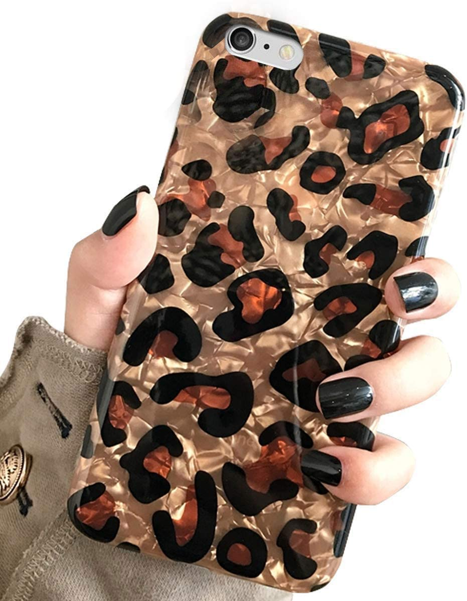 iPhone 6s & iPhone 6 Case, J.west Luxury Sparkle Bling Translucent Leopard Print Soft Silicone Phone Case Cover for Girls Women Flex Slim Design Pattern Drop Protective Case for iPhone 6s/6 4.7 inch