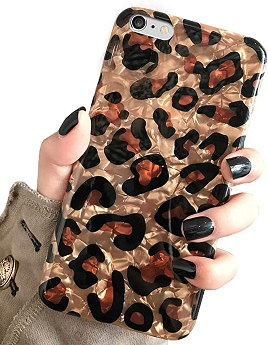 iPhone 6 Plus & iPhone 6s Plus Case, J.west Luxury Sparkle Bling Translucent Leopard Print Soft Silicone Phone Case Cover for Girls Women Slim Design Pattern Protective Case for iPhone 6s+ plus/6 plus