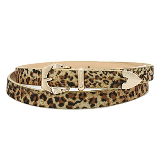 974dd69bf Women's Fashion Super Skinny Faux Leather Leopard Print Belt (1827/LEOPARD)  at Amazon Women's Clothing store: