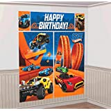 """Amscan Fast Riding Hot Wheels Wild Racer Birthday Party Scene Setters Wall Decorating Kit (5 Piece), Multicolor, 59"""" x 65"""""""