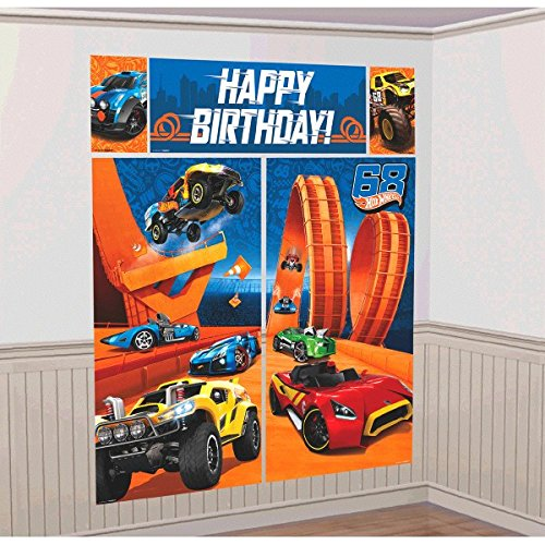 Amscan Fast Riding Hot Wheels Wild Racer Birthday Party Scene Setters Wall Decorating Kit, Multi Colored, Plastic, 59