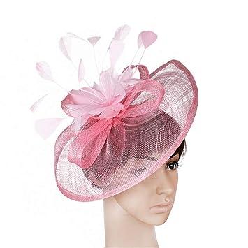 Ladies Day Hair Clip Hat Veil Mujeres Elegantes Flor Mesh Red Velo Pluma  Fascinator Pinza de 365c05b1414