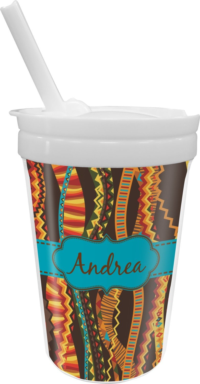 Tribal Ribbons Sippy Cup with Straw (Personalized)