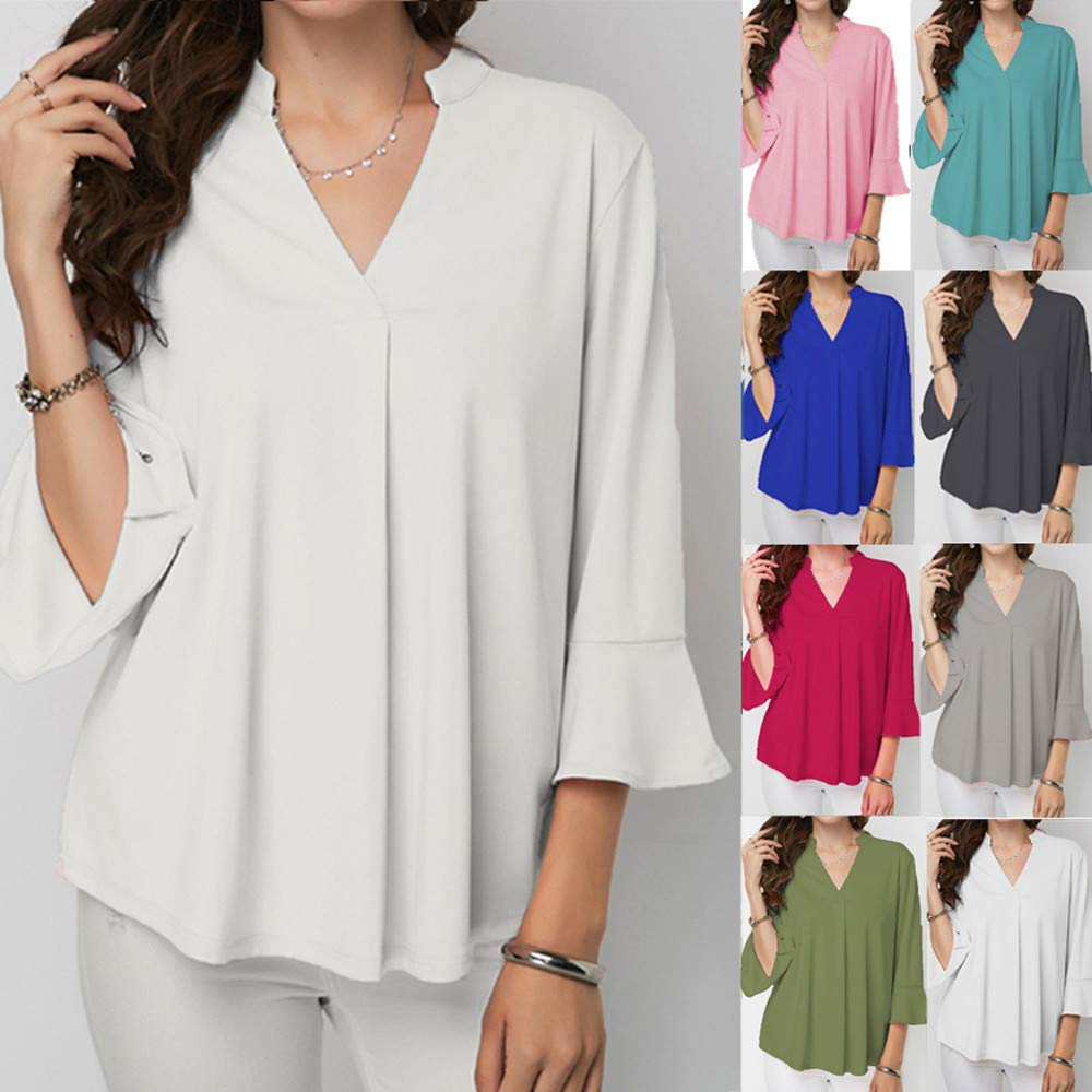 Plus Size Womens Tops and Blouses Harajuku Streetwear Solid Three Quarter Sleeve Shirt Tunic Ladies