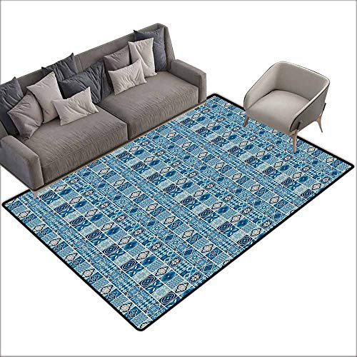 Children's Rug Navy Blue Grid Style Squares with Ornamental Floral and Geometric Arrangement Abstract Easy to Clean Carpet W6'7 x L7'10 Multicolor