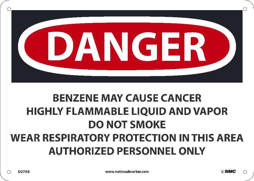 10 Inches x 14 Inches Benzene D27AB National Marker Danger Sign 040 Alum