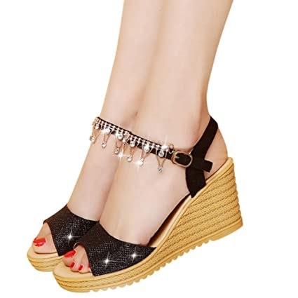d584bc2f4b Amazon.com: High Heels Wedge Sandals Slipper Women Platform Shoes Buckle  Peep-Toe Wedges Shoes (US:6, Black): Home Audio & Theater