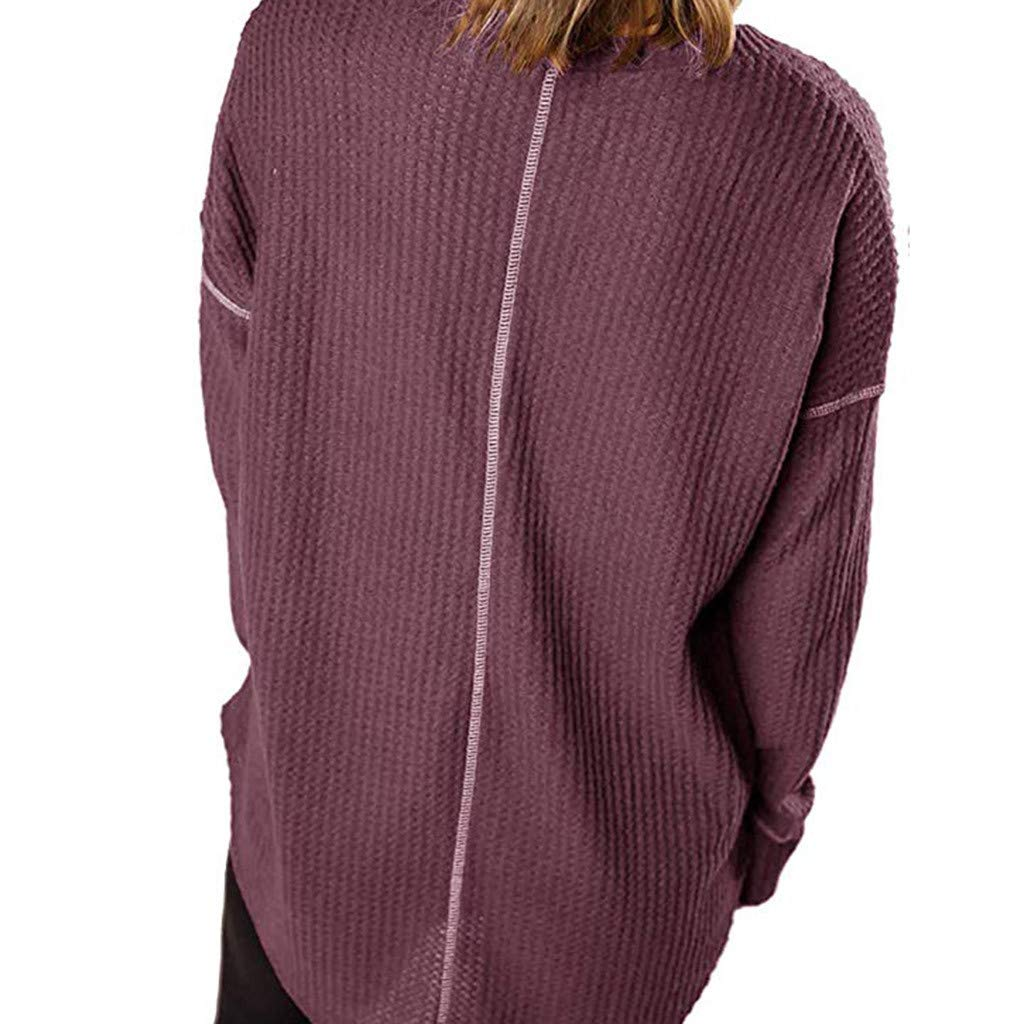 AOJIAN Blouse Women Long Sleeve T Shirt V-Neck Loose Sweatshirt Tees Sweater Shirts Tops Purple by AOJIAN (Image #4)