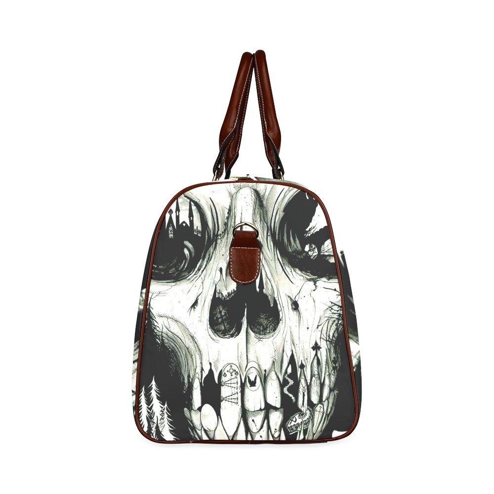 Custom Skull Art Custom Waterproof Travel Tote Bag Duffel Bag Crossbody Luggage handbag