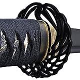 Handmade Sword - Fully Practical Samurai Katana Sword, 1080 Carbon Steel, Hand Forged Heat Tempered, Full Tang, Sharp, Certificate, Black Scabbard