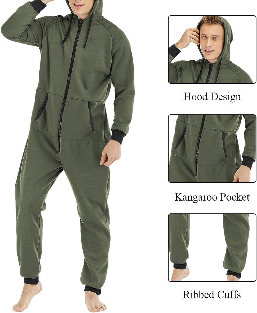 wenyujh Homme Combinaison Pyjama /à Capuche Manches Longues V/êtement de Nuit Poches Sleepwear Zipp/é Couleur Unies Tenue dint/érieur Cordon de Serrage