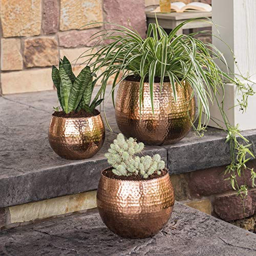 Outdoor Accents Rustic Copper Hammered Metal Set of 3 Patio Planters Lawn Garden - Iron Collection Rustic Metal Hammered