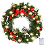 Valdler 22 Inch Christmas Front Door Wreath with Spruce, Silver Bristle, Cones, Ornaments,Red Berries and LED Lights Garland