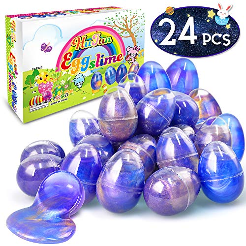 HUFUN 24 Pack Slime Kit Silly Putty Unicorn Galaxy Slime Supplies Kits Slime kit for Girls Kids Boys Cloud Fluffy Butter Slime Charms Games Stuff Party Favors Easter Basket Stuffers Eggs Stress Ball