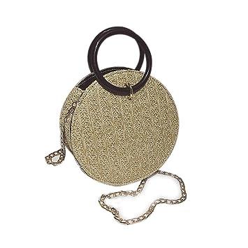 3bd660f0e Gaeruite - Bolso bandolera de paja para mujer, diseño redondo, amarillo:  Amazon.es: Bricolaje y herramientas