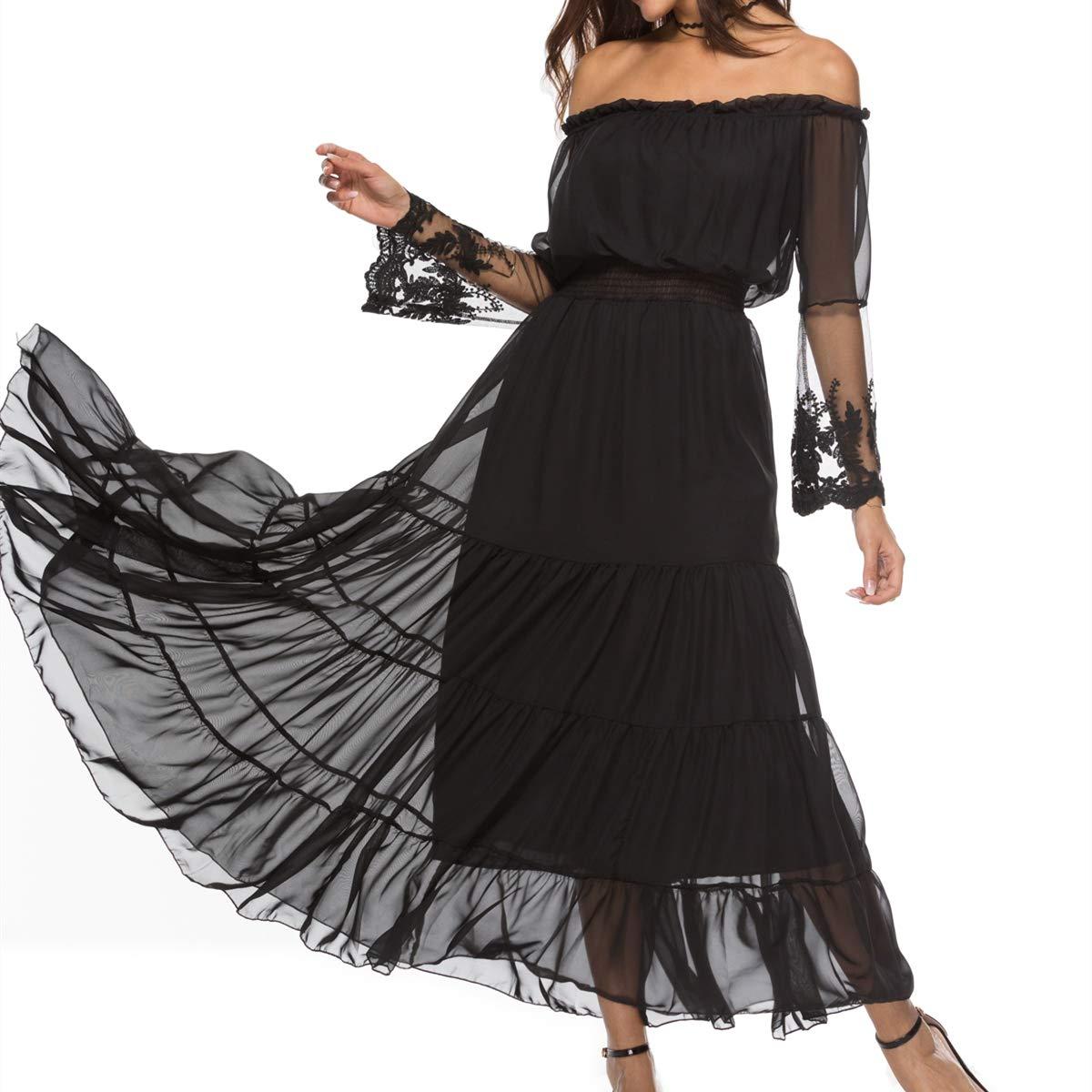364c3df416f Amazon.com  LADY ANGEL Women Black Sheer Mesh Off The Shoulder Lace Panel  Ruffle Hem Long Sleeve Maxi Dress  Clothing