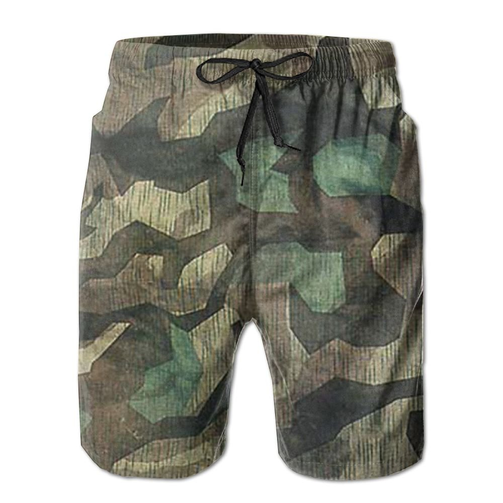 Qinf New Cartoon Fashion Army Camouflage Mens Beach Pants Casual Shorts For Man