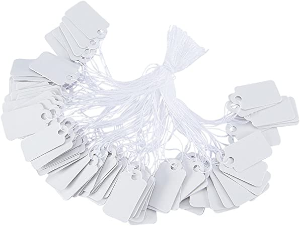 Jewelry Display Paper Price Tags,White Rectangle Blank Hang tag 500pcs//bag